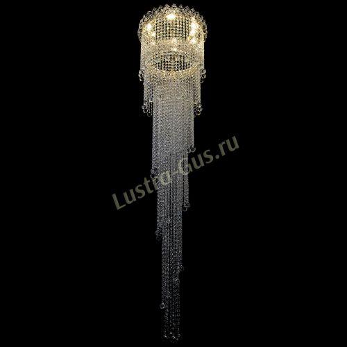 Каскадная люстра Винтаж, диаметр - 450 мм, высота - 2000 мм, цвет - золото, Люстры Гусь Хрустальный