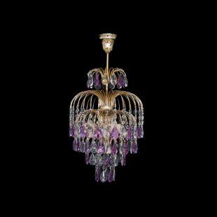 Люстра Хрустальные брызги с подвесом журавлик фиолетовый