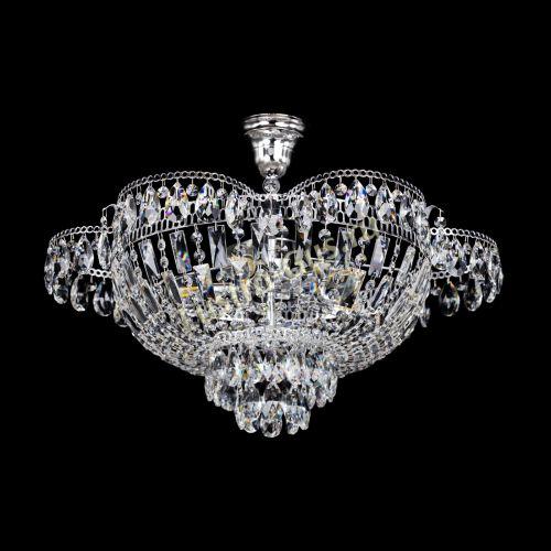Люстра Камея с подвесом, диаметр 560 мм, серебро Гусь Хрустальный