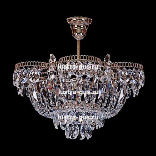 Люстра Ромашка с подвесом, диаметр 450 мм, золото, Люстры Гусь Хрустальный
