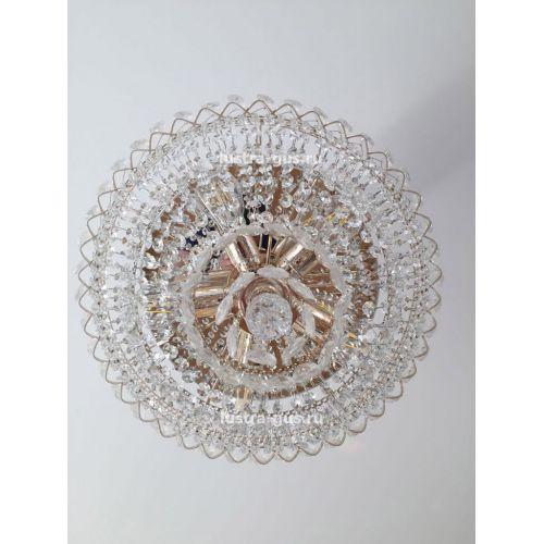 Люстра Водопад с подвесом, диаметр 450 мм, золото Гусь Хрустальный