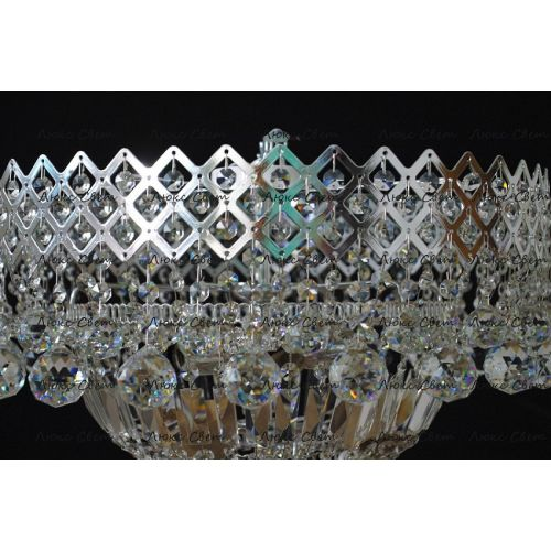 Люстра Водопад корона № 1, цвет фурнитуры: серебро Гусь Хрустальный