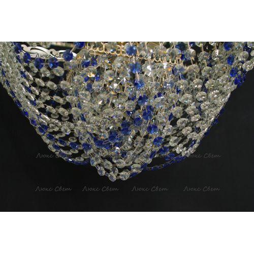 Люстра Квадрат Бриз 5 ламп синяя в Санкт-Петербурге Гусь Хрустальный