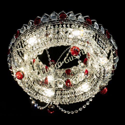 Люстра Глория №1 красная, диаметр - 500 мм, цвет фурнитуры - серебро Гусь Хрустальный