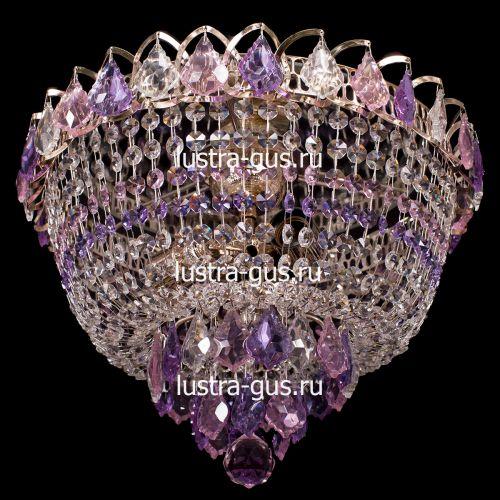 Люстра Катерина дубик цветная, цвет фурнитуры: золото, Люстры Гусь Хрустальный