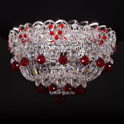 Люстра Катерина шар красная, диаметр 400 мм, цвет серебро Гусь Хрустальный