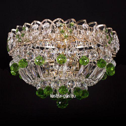 Люстра Катерина шар зеленая, диаметр 400 мм, цвет золото, Люстры Гусь Хрустальный