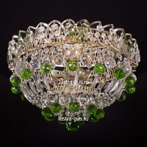 Люстра Катерина шар зеленая, диаметр 400 мм, цвет золото Гусь Хрустальный