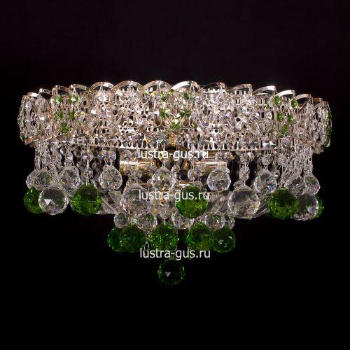 Люстра Катерина шар зеленая, диаметр 450 мм, цвет золото Гусь Хрустальный