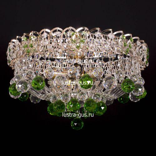 Люстра Катерина шар зеленая, диаметр 450 мм, цвет золото, Люстры Гусь Хрустальный