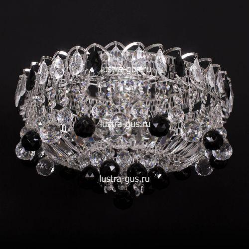 Люстра Катерина шар черная, диаметр 450 мм, цвет серебро Гусь Хрустальный