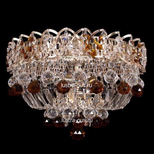 Люстра Катерина шар, диаметр 450 мм, чайные подвески, Люстры Гусь Хрустальный
