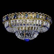 Люстра Кольцо Классика Пластинка синяя под бронзу