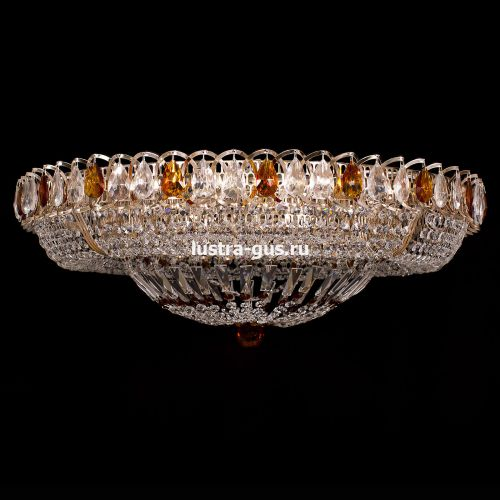 Люстра Кольцо Купол, диаметр 800 мм, цвет золото, Люстры Гусь Хрустальный