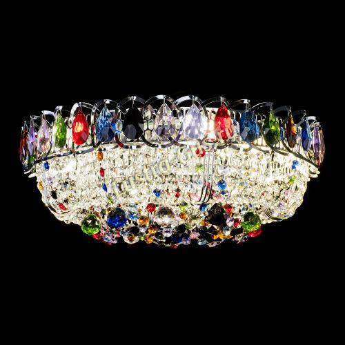 Кольцо Снежинка разноцветная, диаметр - 400, серебро Гусь Хрустальный