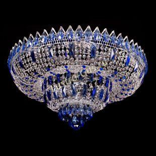 Люстра потолочная для низкого потолка Корона Водопад синий