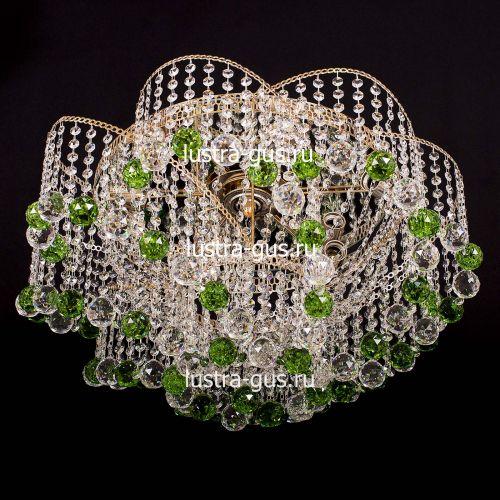 Люстра Космос шар 40 мм зеленая, диаметр 700 мм, цвет золото Гусь Хрустальный
