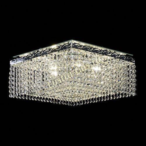 Люстра Квадрат Оптикон, диаметр - 440 мм, цвет - серебро Гусь Хрустальный