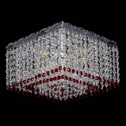 Люстра Квадрат Оптикон красная, диаметр - 300 мм, цвет - серебро, Люстры Гусь Хрустальный