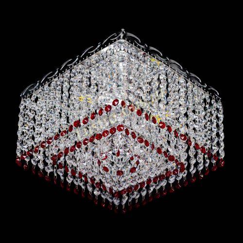 Люстра Квадрат Оптикон красная, диаметр - 300 мм, цвет - серебро Гусь Хрустальный