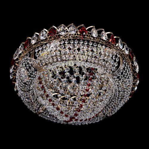 Люстра Лада красная, диаметр - 450 мм, цвет - золото Гусь Хрустальный