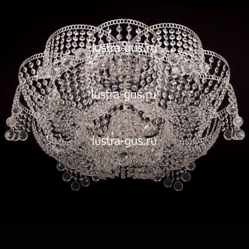 Люстра Лотос Пион Шар, диаметр 700 мм,  цвет серебро Гусь Хрустальный