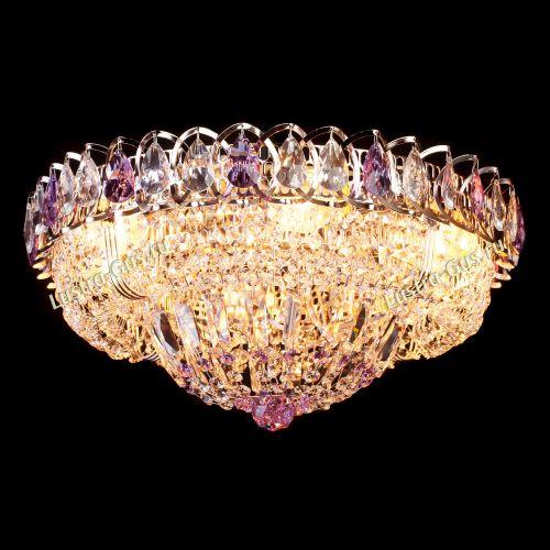 Люстра Кольцо Классика фиолетовая, диаметр 450 мм, цвет золото Гусь Хрустальный