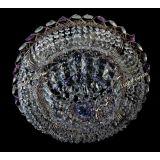 Люстра Кольцо Купол фиолетовая, диаметр 450 мм, цвет золото, Люстры Гусь Хрустальный