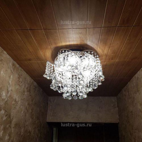 Люстра Космос конус, Диаметр 520 мм, 5 ламп, серебро Гусь Хрустальный