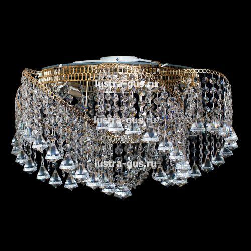 Люстра Космос конус, Диаметр 700 мм, 6 ламп, золото, Люстры Гусь Хрустальный