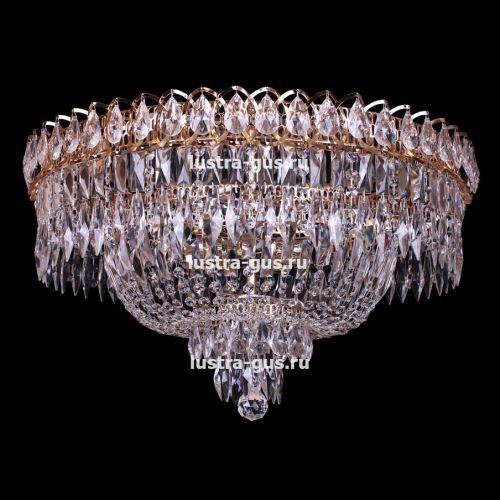 Люстра Водопад Перо, диаметр 600 мм,  цвет золото, Люстры Гусь Хрустальный