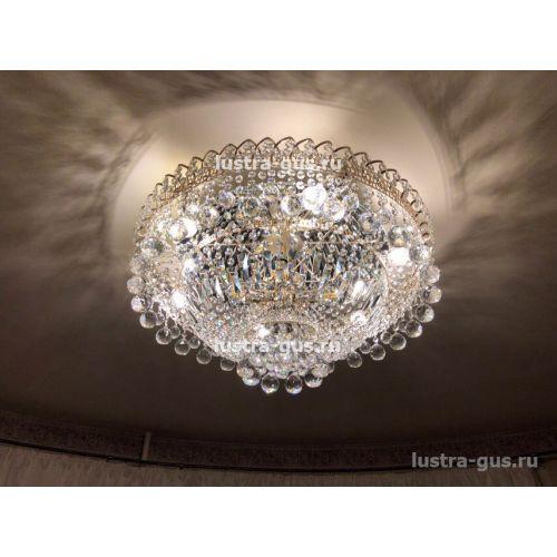 Люстра Водопад шар, диаметр 600 мм, золото Гусь Хрустальный