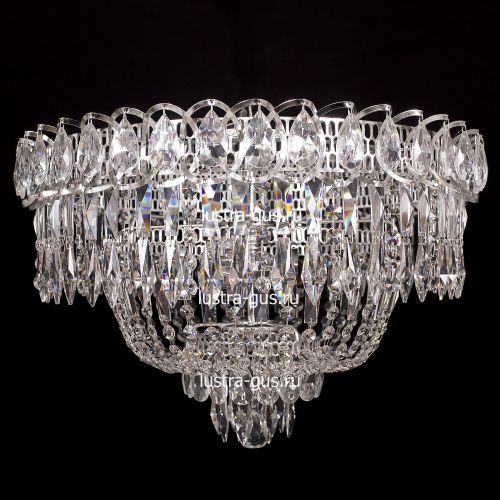 Люстра Водопад Перо, диаметр 450 мм,  цвет серебро Гусь Хрустальный