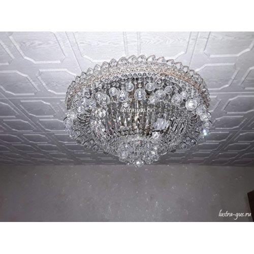 Люстра Водопад шар, диаметр 450 мм, серебро Гусь Хрустальный