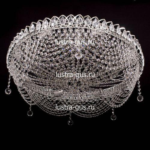 Люстра Роза Водоворот, диаметр 700 мм, цвет серебро Гусь Хрустальный