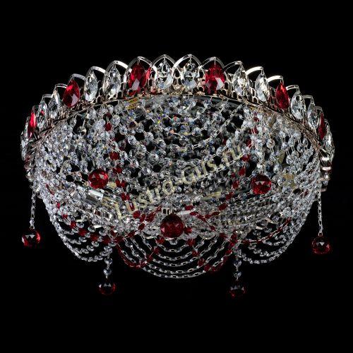 Люстра Жасмин №1 красная, диаметр - 500 мм, Люстры Гусь Хрустальный
